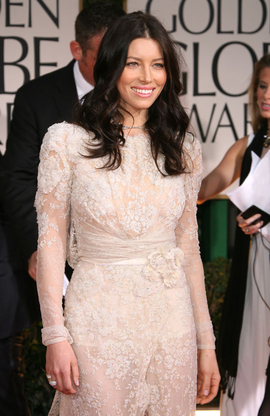 Jessica biel gown at the golden globes 2012