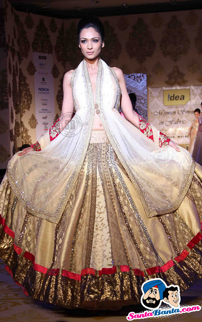 Look At The Number Of Kalis That Lehenga Has I Like It A Long Halter Neck Top And Entire Thing Is In White Gold Silver Pretty